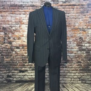 Burberry Navy Pinstriped Suit 38R